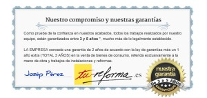 Reformas en Barcelona - Certificado de garantia de obras de Tu-Reforma.es